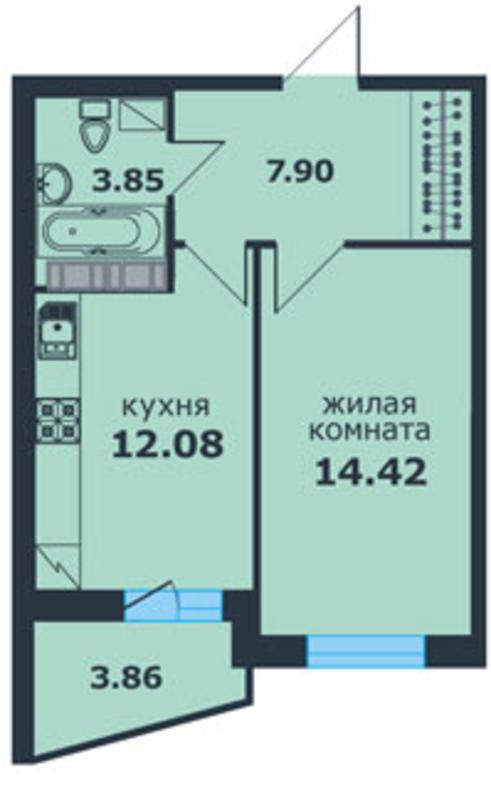 Планировка квартиры ЖК Ленинский Парк 3