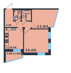 Планировка квартиры ЖК Ленинский Парк 7