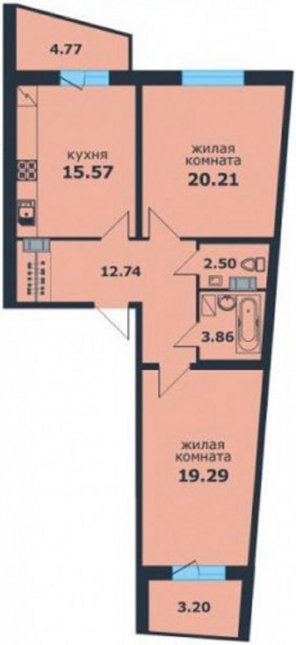 Планировка квартиры ЖК Ленинский Парк 8
